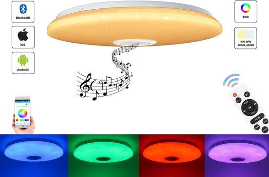 Varin® LED Plafondlamp met bluetooth speaker - 48W led lamp - Ø 38cm sparkling plafoniere - 3700 Lumen - RGB - nachtlamp en wekker - smart lamp - dimbare plafonnière - plafond lamp - kinderlamp - slaapkamer verlichting - ledlamp - ceiling light