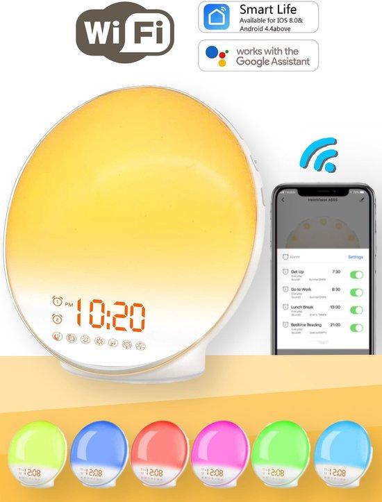 Wake Up light- Lichtwekker - Wekkerradio met natuurgeluiden – Nachtlampje – Bedlamp – Zonlicht simulatie – Smartapp