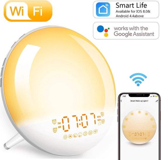 Wake Up light - Wekkerradio – Google Home Kinder Nachtlamp - Smartphone app - Zonsondergang simulatie – 7 verschillende kleuren